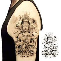 ~ Lotus Buddha Large Body Art Waterproof Temporary Tattoos Stickers ~