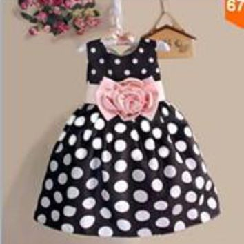 Girls Princess Party Sleeveless Polka Dot Flower Gown Formal Dress Baby Kids Girl Summer Clothes Dresses 2 3 4 5 6 7 Years