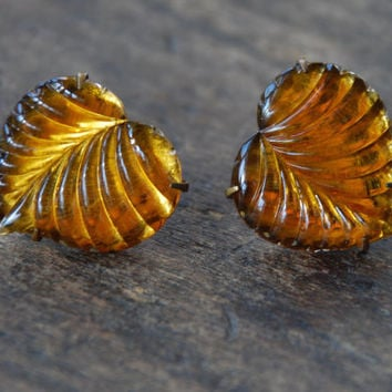 Antique Art Deco Screw Back Earrings Vauxhall Glass Mirror Glass Amber Glass Leaf Cabochon Fall Jewelry 1930's // Vintage Costume Jewelry