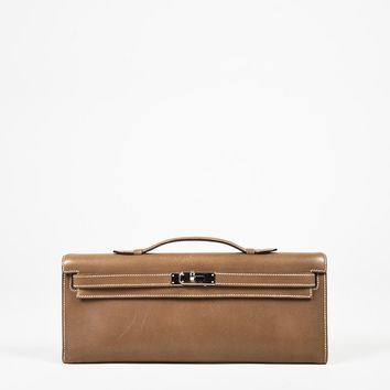 """Hermes Brown """"Swift"""" Leather """"Kelly Cut"""" Front Flap Top Handle Clutch Bag"""
