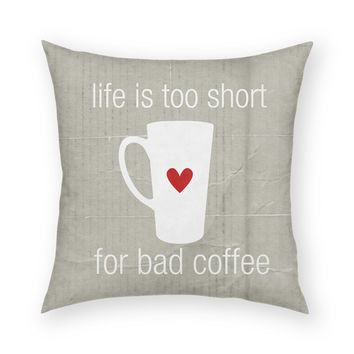 "Bad Coffee by Artist Cheryl Overton Artistic 18""x18"" Throw Pillow"