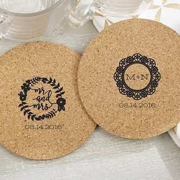 Personalized Round Cork Coasters - Romantic Garden (Set of 12)