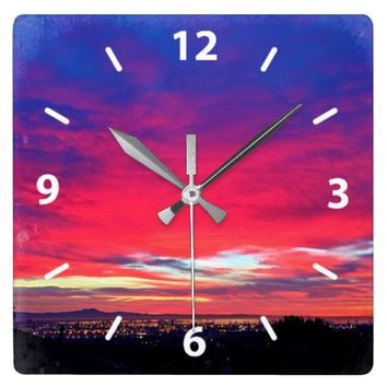 Hot pink blue clouds sunrise sky photo wall clock