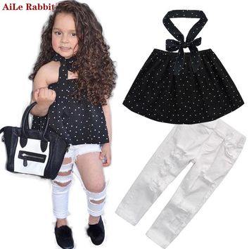 AiLe Rabbit 2017 Summer Kids Fashion Girls Clothing Sets 3 pcs Black Blouse Top & hole Casual Jeans&Collar band Clothes