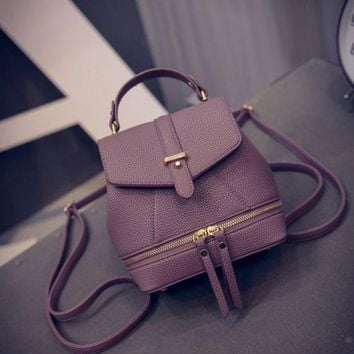 PEAPDQ7 The New Fashion Embossed Leather Zipper  Mini Shoulder Bag Backpack