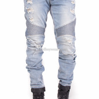 Flex Stretch Distressed Biker Moto Slim Fit Denim Jeans