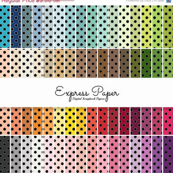 SALE 64 Black Medium Dot Pattern Digital Papers- 12x12 and 8.5x11 included-Digital Paper Rainbow includes dark, bright, neutral and pastel c