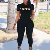 FENDI Newest Hot Sale Woman Casual Print Short Sleeve Hoodie Top Pants Set Two Piece