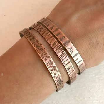 Hammered Copper Bracelet, rustic thin adjust cuff textured aged climb hiking camping jewelry woman gift for her unisex