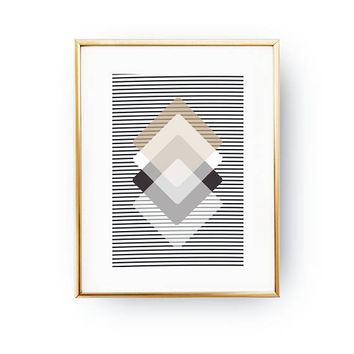Brown Beige Black, Rhombus Print, Simple Wall Art, Pastel Decor, Geometric Poster, Minimalist Print, Geometric Textures, Abstract Shapes