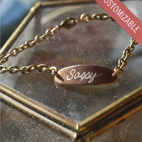 Custom Engraved Brass ID Bracelet