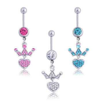 Fashion Sexy Ladies Rhinestone Crown Heart Navel Ring Body Piercing Jewelry Belly Button Bar = 1645440452