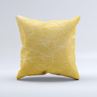 Messy Golden Strands Ink-Fuzed Decorative Throw Pillow