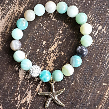 Semi Precious Amazonite Gemstone Stretch Bracelet - Starfish Sand Dollar Seashell Bracelet - Boho - Surfer - Beach Jewelry - Bohemian Chic
