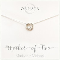 """""""Mother of Two"""" Sterling Silver Necklace 