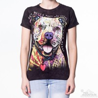 BEWARE OF PIT BULLS Womens T-Shirt The Mountain Rescue Dog Pitbull Tee Top NEW!