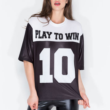 We Play To Win Boxy Jersey Top