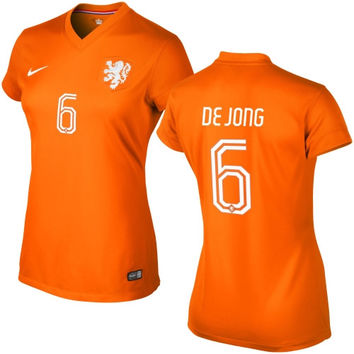 Nigel de Jong Netherlands Nike Women's 2014 World Soccer Replica Home Jersey - Orange - http://www.shareasale.com/m-pr.cfm?merchantID=7124&userID=1042934&productID=541930128 / Netherlands