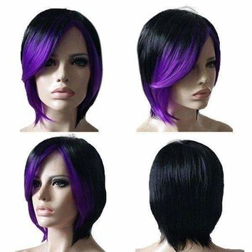 Short Inclined Bang Straight Colormix Synthetic Wig - Black And Purple | Fwresh Beauty