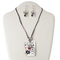 Flowers & Lines White Multi Mod Freshwater Pearl Shell Necklace Earrings Set