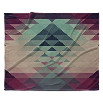 "Nika Martinez ""Hipster"" Maroon Teal Fleece Throw Blanket"