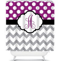 SHOWER CURTAIN Custom MONOGRAM Personalized Bathroom Decor Chevron Polka Dot Purple Gray Colors Bath Towel,  Bath Mat