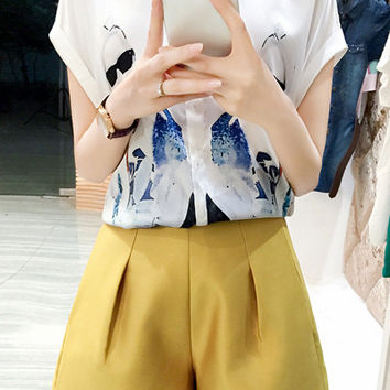 Shirt Collar Short Sleeve Figure Print Shirt + Shorts Twinset