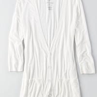 AEO Women's Soft & Sexy Boyfriend Cardigan (Natural White)