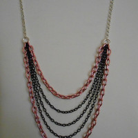 SALE 35 inch long Silver, Light Pink and Black Necklace