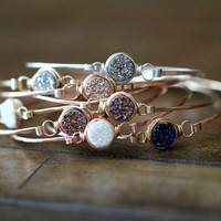 Druzy Stacking Bracelets , Bezel Gemstone Bangle in Silver Gold or Rose Gold , Stackable Valentines Gift Ideas