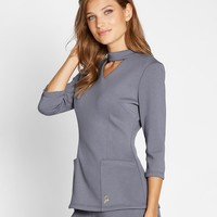 The Mock Neck Top in Graphite - Medical Scrubs by Jaanuu