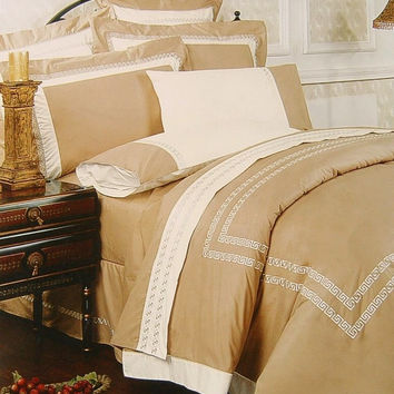 11pc  Lexington Taupe Embroidered Comforter Set Size: Queen Sheet Set Color: Gold