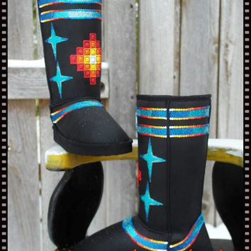 size 6.5  Hand Painted Boots  By  Rez Hoofz    ready to ship  Please Read full discription below