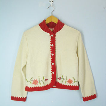 Vintage 1960s Sweater, Bolero Jacket Sweater, Embroidered Sweater, 60s Cropped Sweater, Crop Top, Wool Sweater