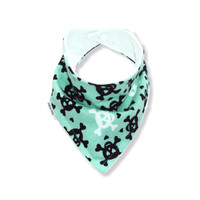 Baby Bandana Bib Scarf in Mint Skull Flannel with Snap Closure for Boy or Girl