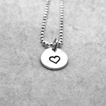 Small Heart Necklace, Sterling Silver, Heart Jewelry, Hand Stamped Jewelry, Everyday Necklace, Gifts for Her, Small Heart Pendant