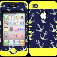 Bumper Case for Apple iphone 4 4G 4S Anchor Pattern hard plastic snap on over Yellow Silicone Gel