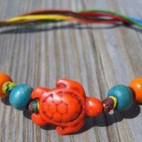 Colorful Free Size Wax String Turtle Bracelet Turquoise Turtle Bead:18x14x7mm Blue,orange Wood Beads:7mm Multicolor Wax String Free Size (25cm Long) Handmade,brand New