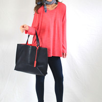 Red Knit Over-Sized Top