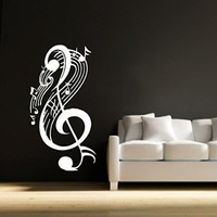 Wall Decals Note Musical Notes Waves Music Recording Studio Treble Clef Floral Patterns Wall Vinyl Decal Stickers Bedroom Murals