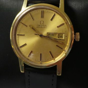 Vintage Omega Automatic Day/Date Watch Gold Dial Cal. 1020 17 Jewels 34.7mm