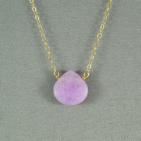 Beautiful Lavender(pink) Jade Heart Necklace, Natural Stone Bead, 14K Gold Filled Chain, Wonderful Jewelry
