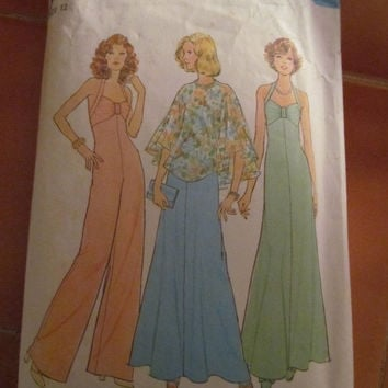 SALE 1975 Simplicity Sewing Pattern, 6939! Size 12, Jumper, Evening Gown, Dress, Poncho, Women's, Teens, Juniors, Misses.