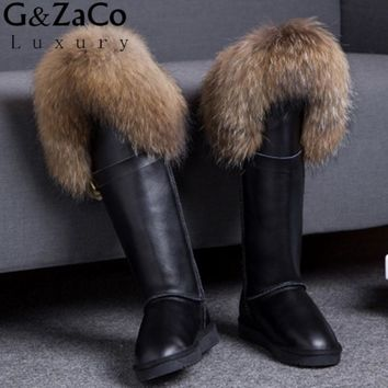 G&Zaco Winter Genuine Leather Snow Boots Natural Fox Fur Knee- High Boots Waterproof Flat Heel Women Long Raccoon Fur Boots