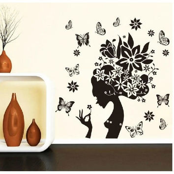 28*38'' BLACK FLOWER BUTTERFLY HOME DECOR WALL DECALS LIVING ROOM BATHROOM TILE STICKERS WALL STICKERS FOR GIRLS ROOMS ZYPA2175