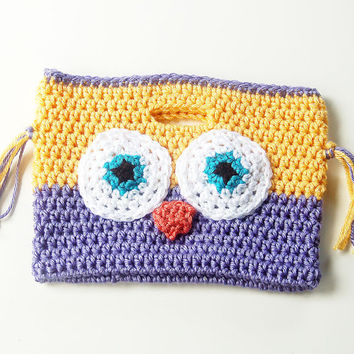 Owl Purse, Children's Owl Purse, Little Girl Crochet Purse Bag Clutch, Lavender and Yellow Owl Bag