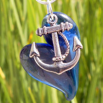 Glass Heart Necklace Blue Sparkle Heart Silver by untamedrose