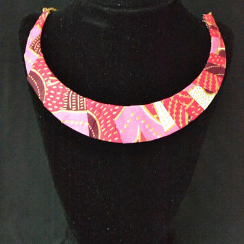 Pink and Red Ankara Necklace