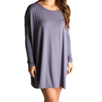 Charcoal Grey Piko Tunic Long Sleeve Dress
