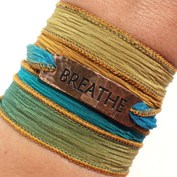 Breathe Wrap Bracelet Yoga Jewelry Copper Charm Silk Artsy Bohemian Ribbon Zen Yogi Lover Unique Gift For Her or Him Christmas Birthday